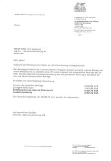 Abrechnungsschreiben von generali