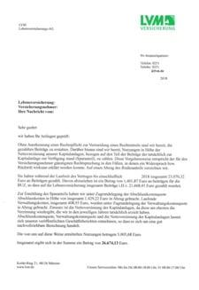 Abrechnungsschreiben von lvm