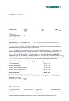 Abrechnungsschreiben von skandia